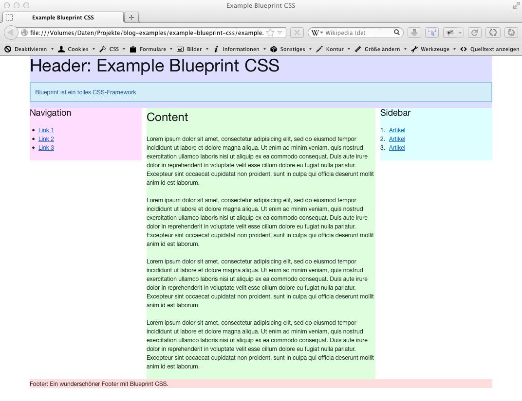 Beispiel: Blueprint-CSS