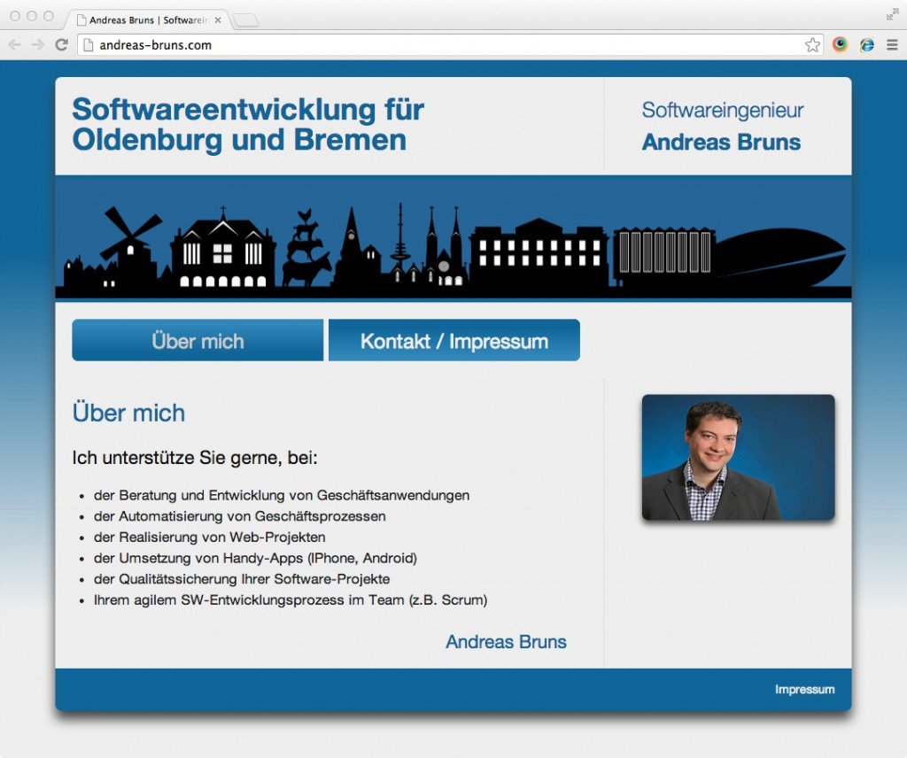 Alte Website mit Blueprint