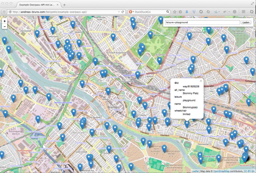 Overpass API - Spielplätze in Bremen