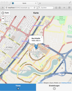jQuery Mobile: OpenStreetMap-Karte mit Leaflet