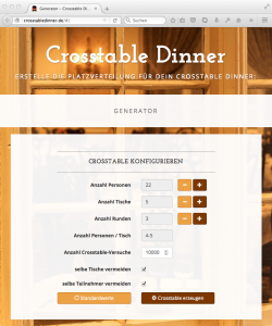 Crosstable-Dinner: Konfiguration
